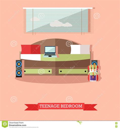 bedroom interior banners set in flat style vector vector set of family concept design elements in flat style