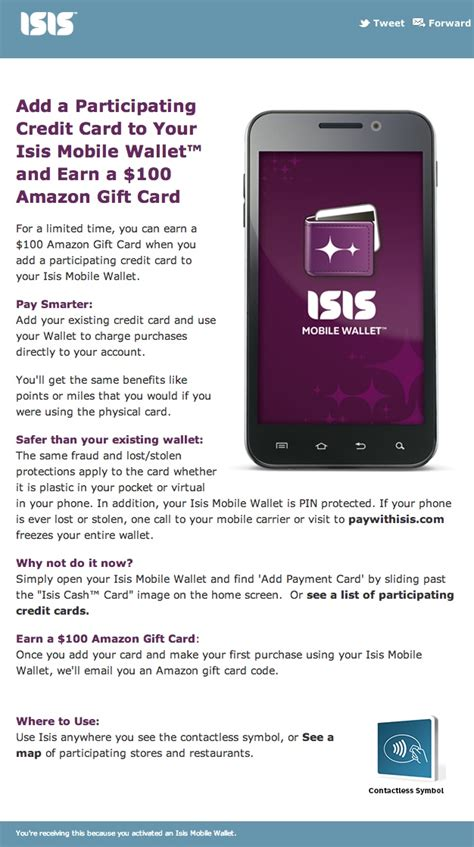 Add Gift Card Amazon - isis mobile wallet will give you 100 amazon gift card if you add a credit card to