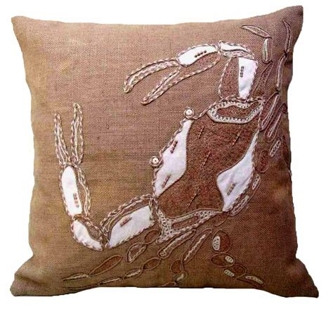 home design down pillow coastal burlap crab down filled pillow