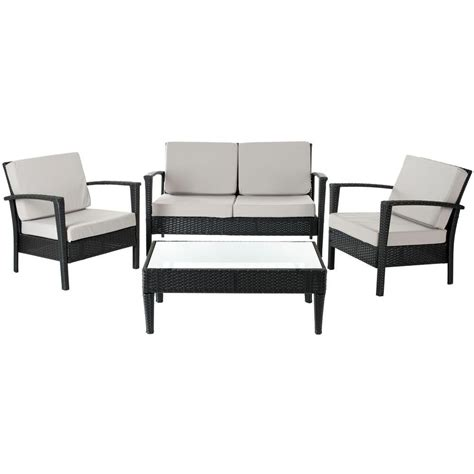 safavieh piscataway black 4 piece wicker patio seating set