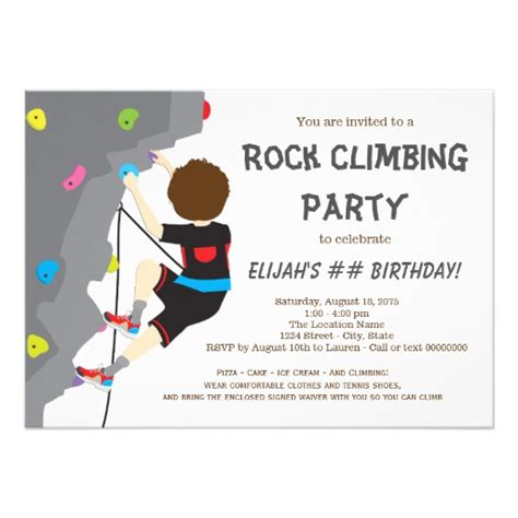 Climbing Birthday Card Boys Rock Climbing Birthday Party Card Zazzle