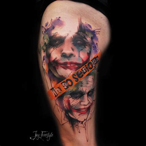 watercolor joker tattoo watercolor sketchy style the joker tattoo on the left
