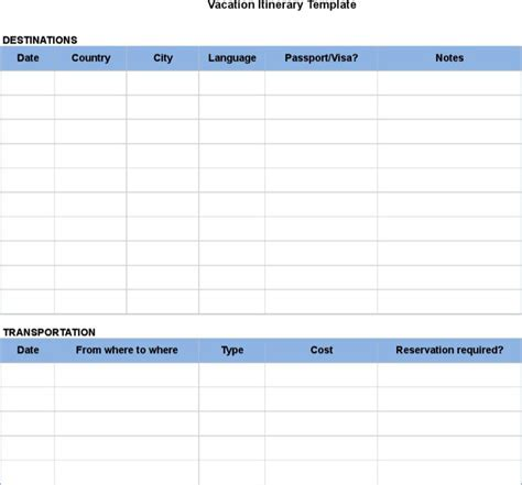 blank trip itinerary template itinerary template printable daily itinerary template for microsoft excel daily itinerary
