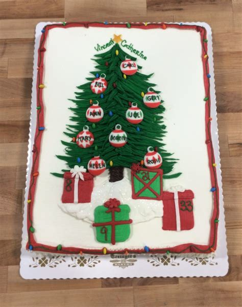sheet cakes christmas decorated pictures tree sheet cake with custom ornaments trefzger s bakery