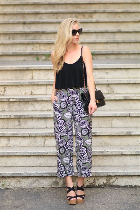 Cullote Wedges green inspiration cropped camisole printed culottes