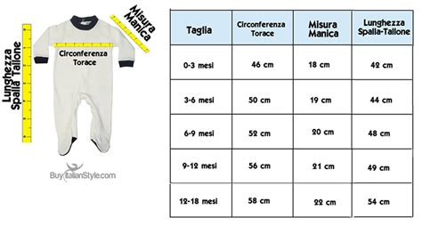 Misure Neonato by Guida Alle Taglie Bambini Buyitalianstyle Made In