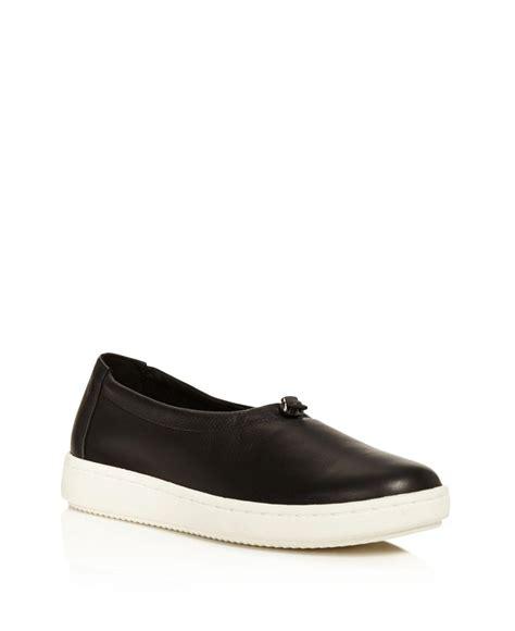 eileen fisher shoes eileen fisher sydney leather slip on sneakers in black lyst