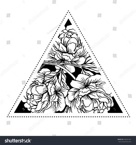 blackwork tattoo with sacred geometry and geometric blackwork tattoo flash peony flower sacred stock vector