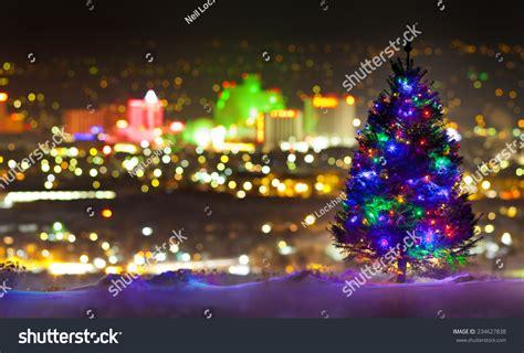 christmas tree front reno nevada city stock photo
