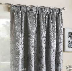 Crushed velvet velour 3 quot pencil pleat headed tape ready made thermal curtains ebay