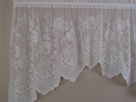 long swag curtains one piece swag curtain white lace 32 long and 72 wide