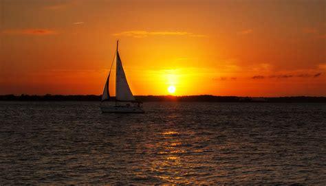 Late Sunset Sail Boat Sunset Sailboat Sunset At Amelia Island Photograph By Island