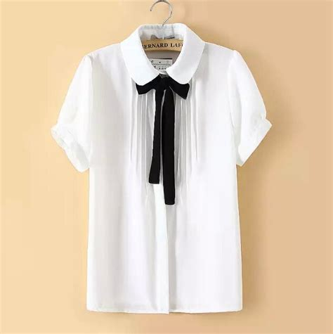 Sweet Bow Blouse Black White Size L 19052 sweet bow tie doll chiffon blouse 183 fashion europe america 183 store powered