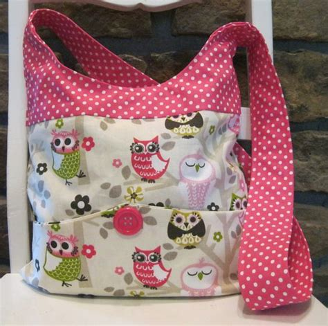 Handmade Tote Bags Patterns - handmade fabric bags purses shoulder bag owl and pink