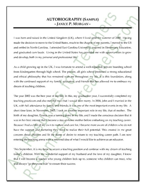 resume for student teachers exles of autobiographies view autobiography examples