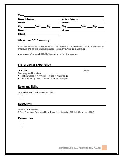 10 Chronological Resume Templates Free Word Templates Chronological Resume Template Word