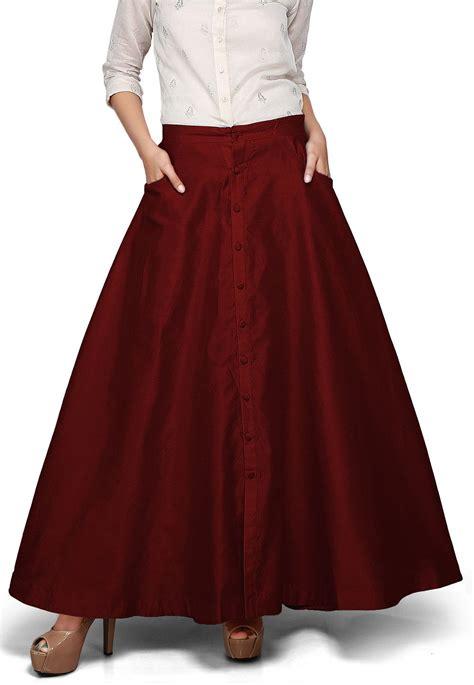 Silk Skirt plain dupion silk skirt in maroon thu411