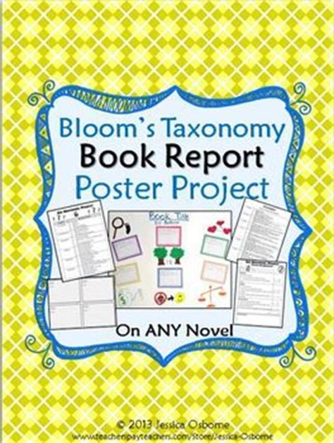 bloom book report book report project bloom s taxonomy poster on any novel