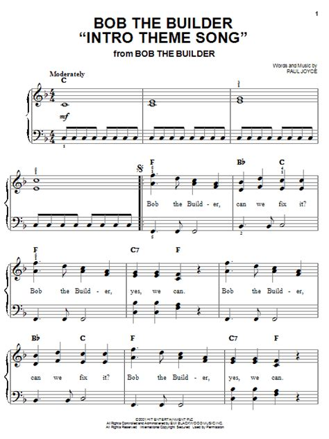theme music in 3 bob the builder intro theme song sheet music by paul joyce