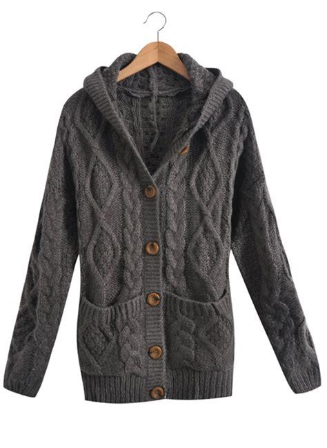 Jaket Sweater Cardigant grey hooded sleeve cardigan sweater coat shein