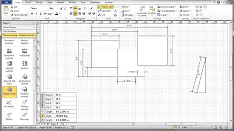 visio floor plan scale visio 2010 dimensioning tutorial youtube