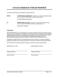 acte de transfert de titre de propri 233 t 233 template