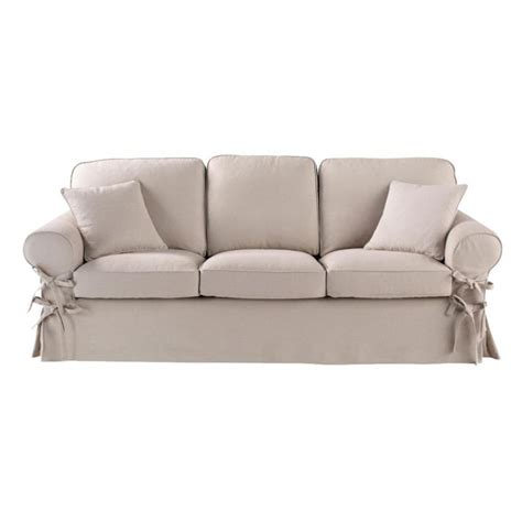 butterfly sofa 3 seater linen sofa in putty butterfly maisons du monde