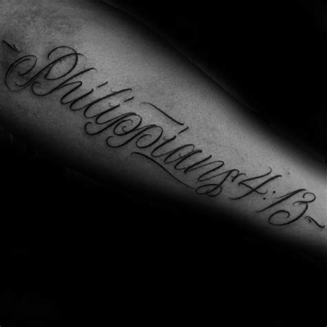 gentleman with bible verse tattoo of philippians 4 13 on