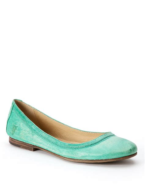 turquoise shoes flats frye carson leather ballet flats in blue turquoise lyst