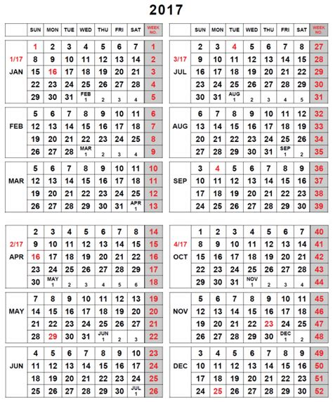 printable calendar by week 2017 weekly number calendar 2017 weekly calendar template