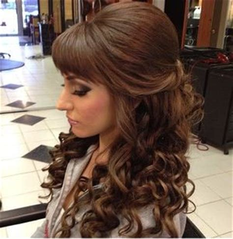 half up half down hairstyles without bangs big poof bangs curls prom wedding half do hair