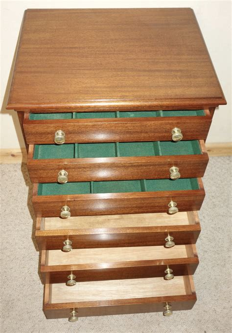 edwardian mahogany cutlery collector chest drawers