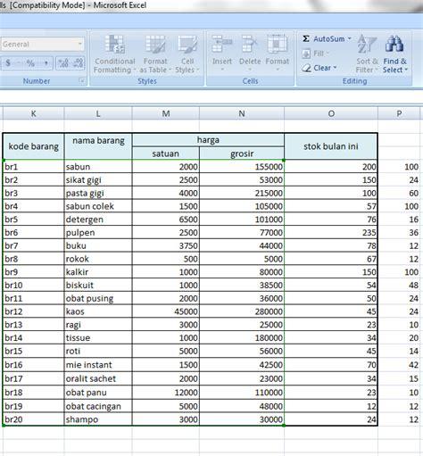 membuat database dengan microsoft excel 2010 cara membuat program kasir sederhana dengan microsoft