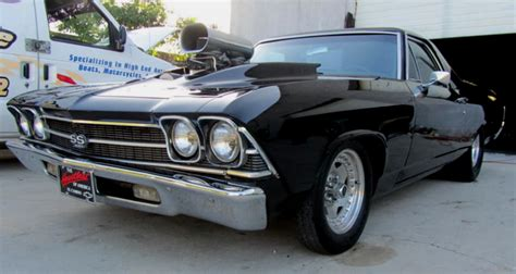 the black el camino black blown 69 chevy el camino custom cars