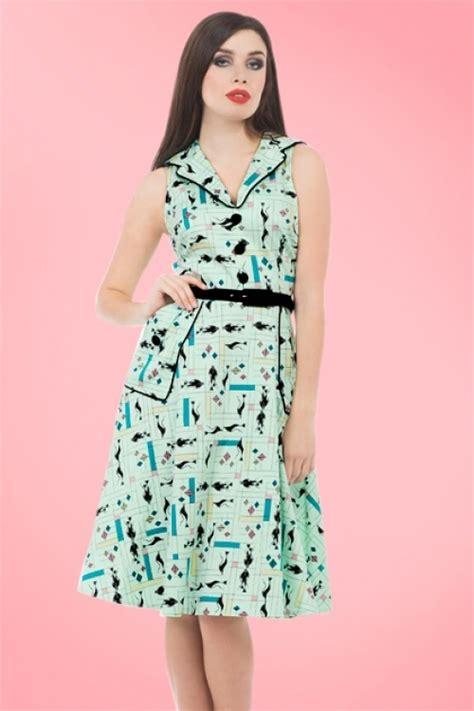 18586 Dress Green 50s cats swing dress in mint