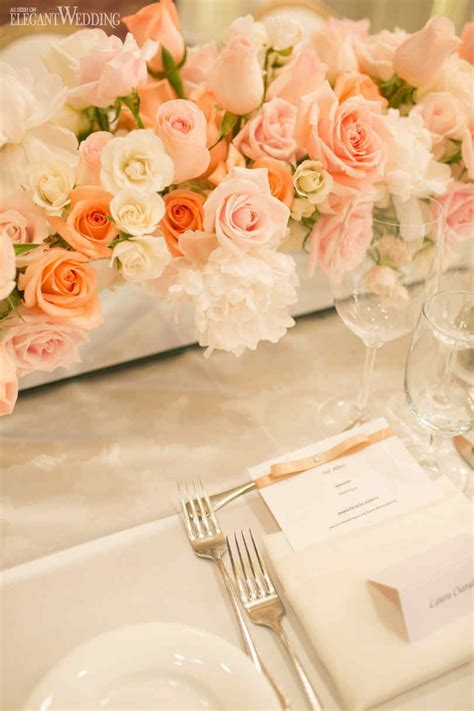 Elegant Peach & White Wedding   ElegantWedding.ca