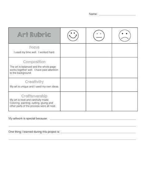 printable art rubric 4 best images of elementary art rubric printable