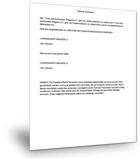 Kostenlose Vorlage Für Berliner Testament Lebensgemeinschafts Vertrag Muster Berliner Testament Fr Ehegatten Berliner Testament Vorlage