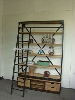 industrial style bookcase with ladder buy bookcase