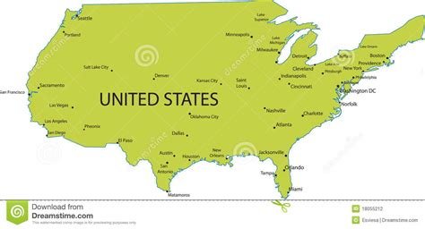 map usa big cities map of usa with major cities stock vector illustration