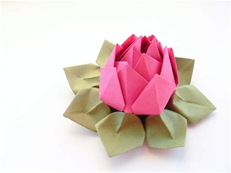 Lotus With Paper - handmade origami lotus flower fuchsia pink moss green