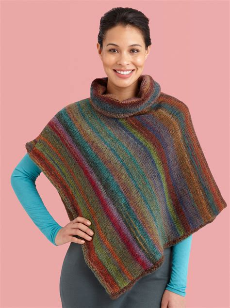poncho pattern knitting yarn cowl neck striped poncho in lion brand amazing l10744
