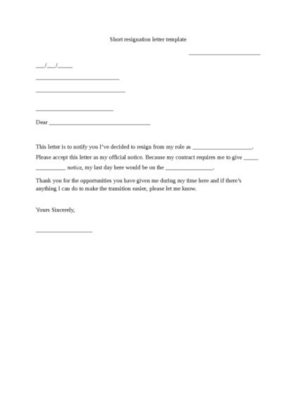 Form For Resignation Letter by Resignation Letters Sle Format Business Letter 4 Resignation Letter Template Cashier