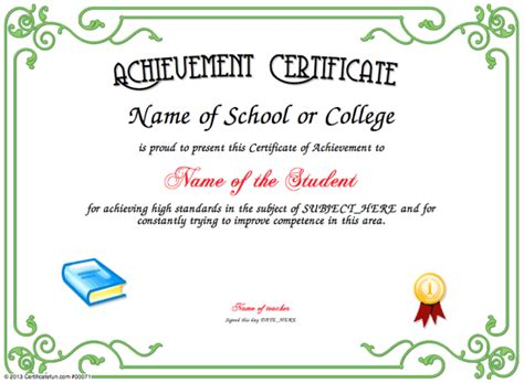 Achievement Certificate Free Certificate Templates For Students