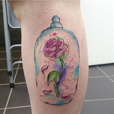 rose from beauty and the beast tattoo best 25 disney watercolor ideas on
