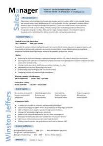 Foh Manager Sle Resume by Sales Manager Cv Exle Free Cv Template Sales Management Sales Cv Marketing