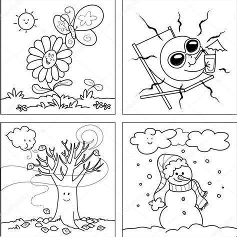 imagenes de invierno y verano para colorear cuatro estaciones para colorear vector archivo im 225 genes