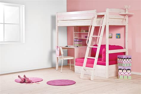 Bunk Bed With Sofa And Desk Imposing Children S Loft High Beds With Stair Added Study Desk And Pink As Well As
