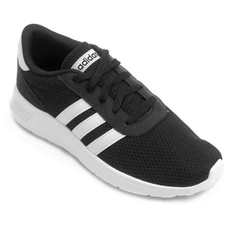 tenis adidas lite racer masculino preto  branco netshoes