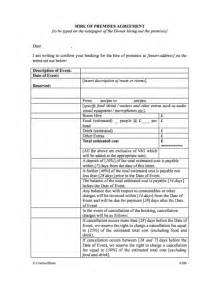 Hire Agreement Template by Contract Template For Hire Of Premises For Events
